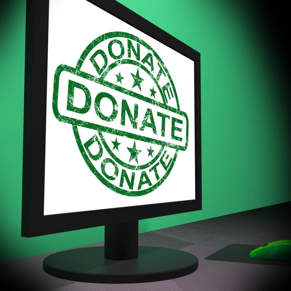 Download Free Stock Photo of Donate Computer Shows Charitable Donating And Fundraising