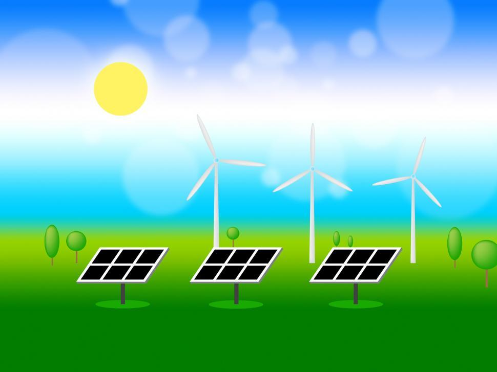 Download Free Stock Photo of Solar Wind Power Means Renewable Resources And Energy