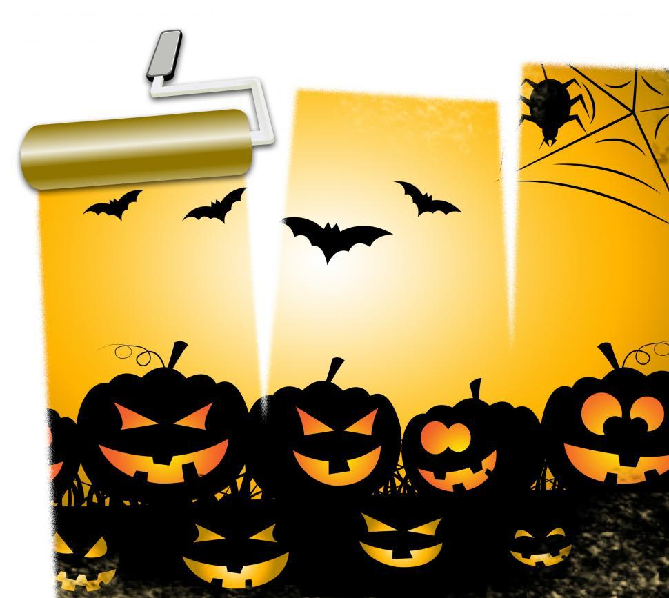 Download Free Stock Photo of Halloween Pumpkins Means Trick Or Treat And Ghost