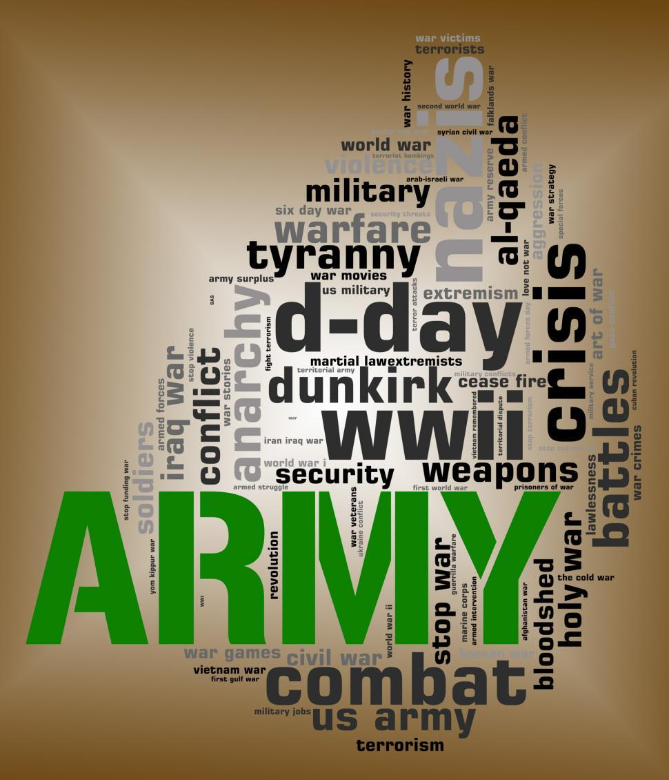 Download Free Stock Photo of Army Word Shows Defense Forces And Armed