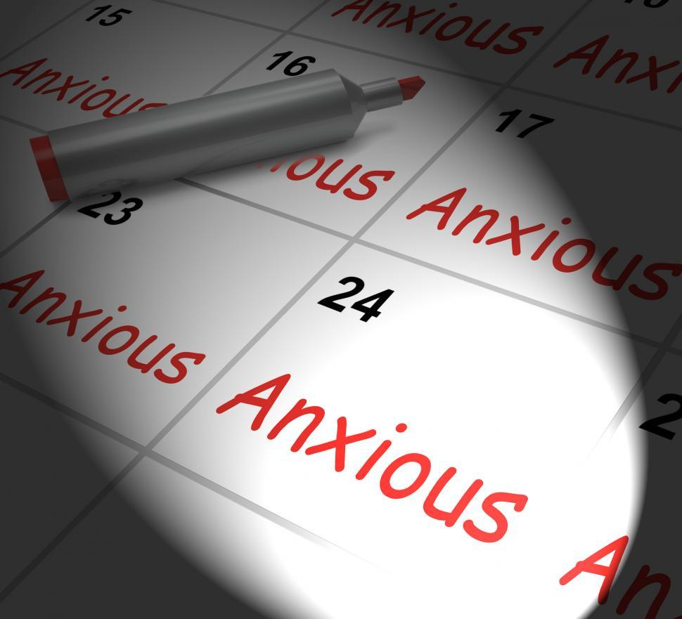 Download Free Stock Photo of Anxious Calendar Displays Worried Tense And Uneasy
