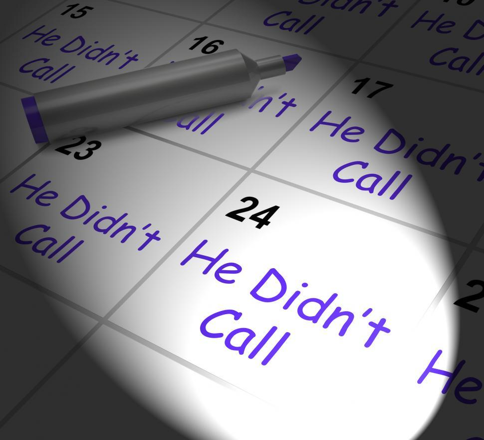 Download Free Stock HD Photo of He Didnt Call Calendar Displays Disappointment From Love Interes Online