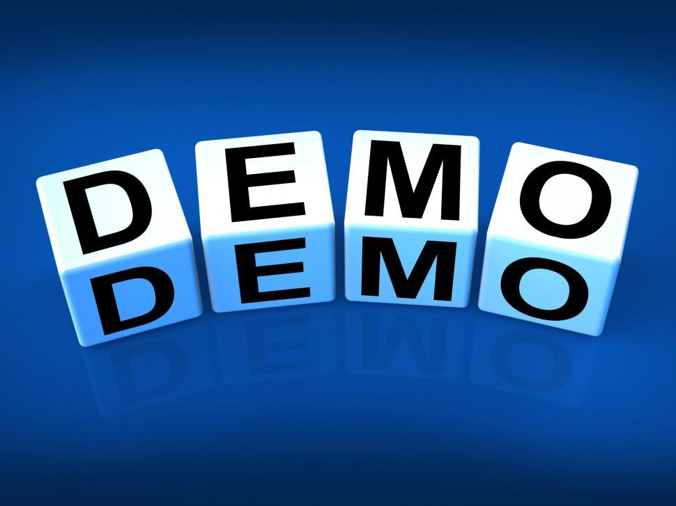Download Free Stock Photo of Demo Blocks Indicate Demonstration Test or Try-out a Version
