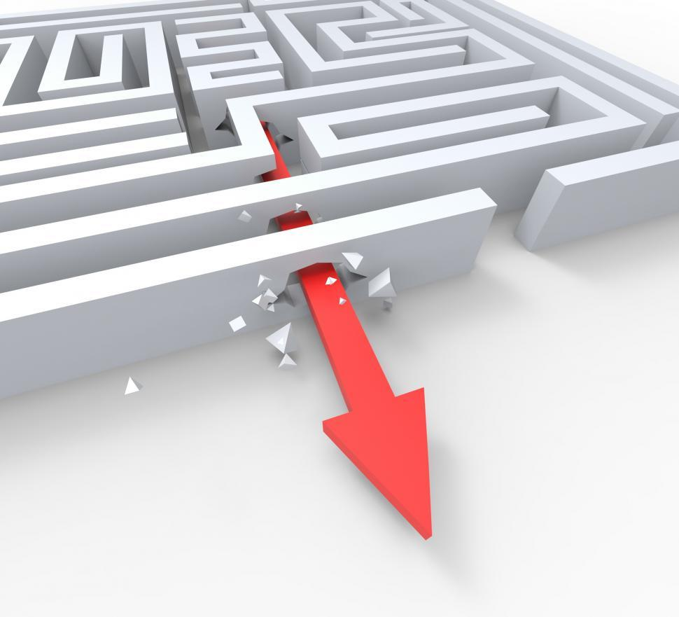 Download Free Stock HD Photo of Break Out Of Maze Shows Overcome Puzzle Exit Online