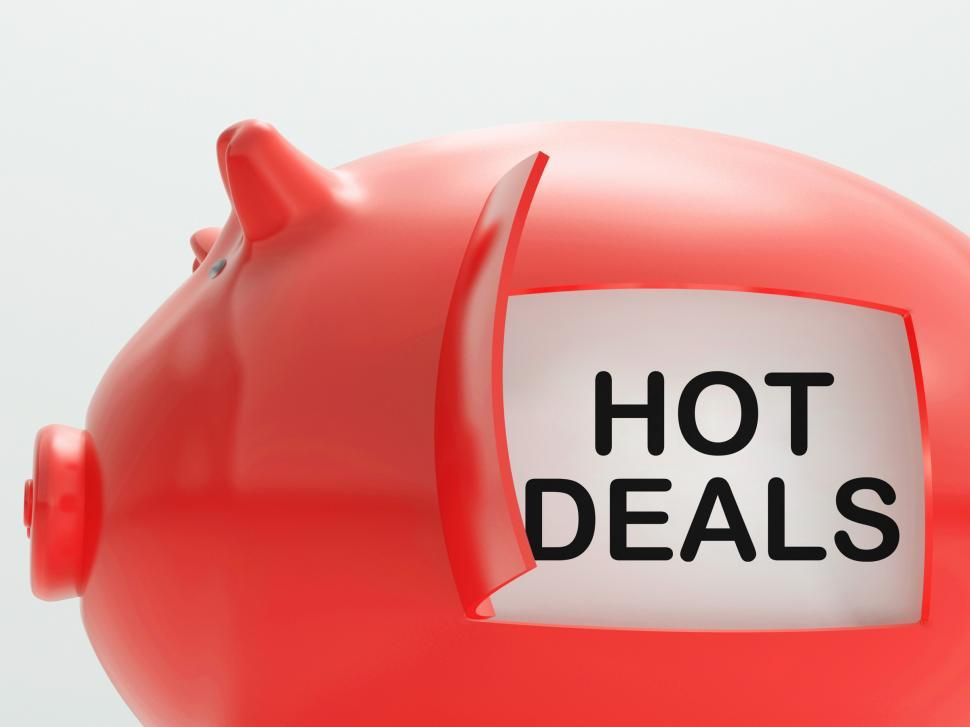 Download Free Stock Photo of Hot Deals Piggy Bank Shows Cheap And Quality Products