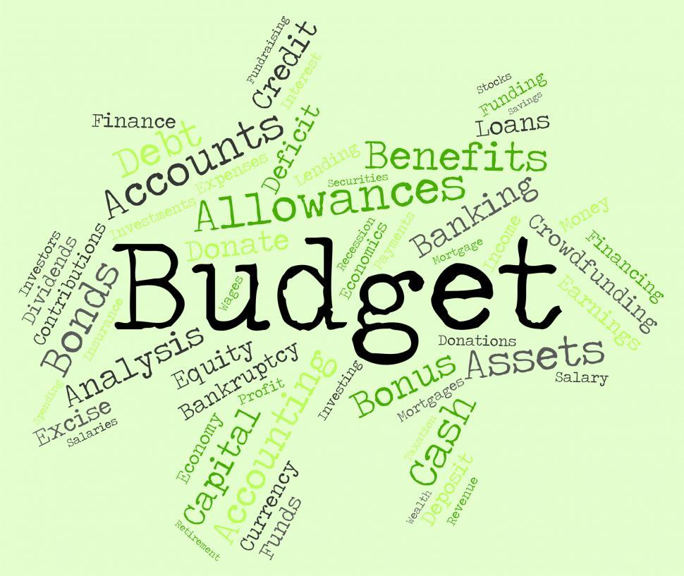 Download Free Stock HD Photo of Budget Words Means Accounting Budgeting And Expenditure Online