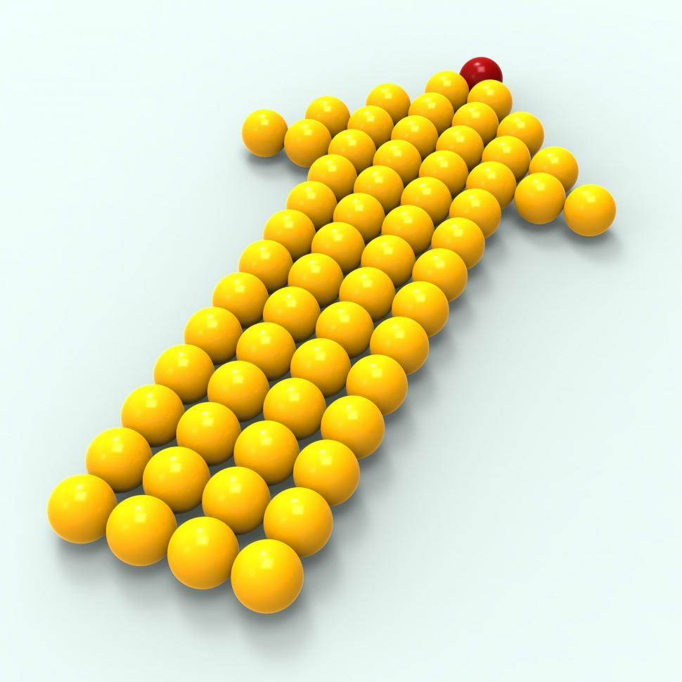 Download Free Stock Photo of Leading Metallic Balls In Arrow Shows Leadership