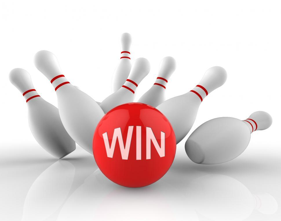 Download Free Stock Photo of Win Bowling Represents Strike Success 3d Rendering