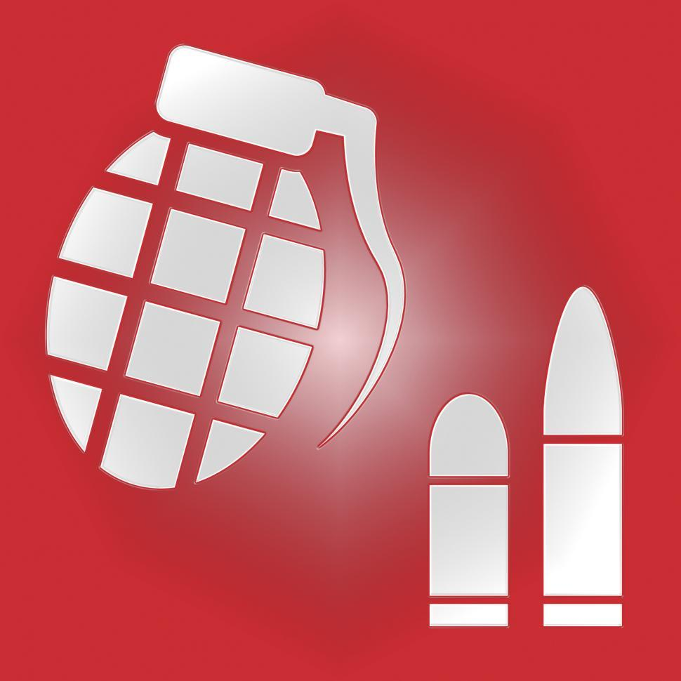 Download Free Stock Photo of Hand Grenade Bullets Indicates Murder Conflict And Violence
