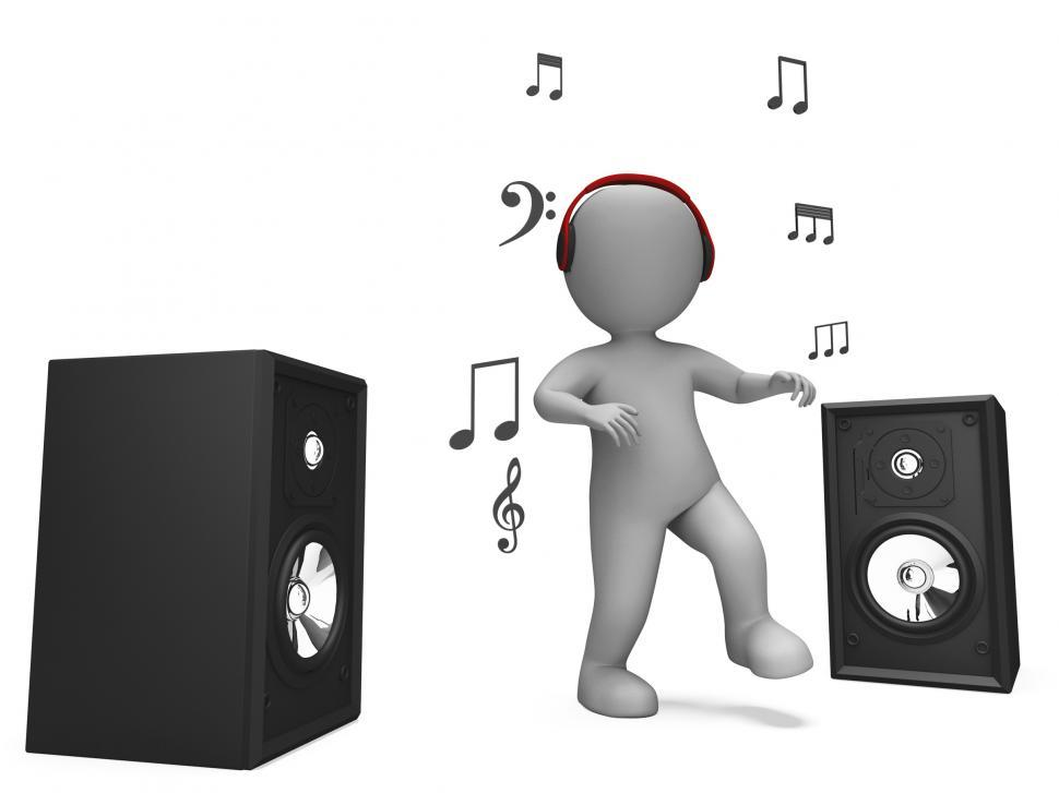 Download Free Stock Photo of Listening Dancing Music Character Shows Loud Speakers And Songs