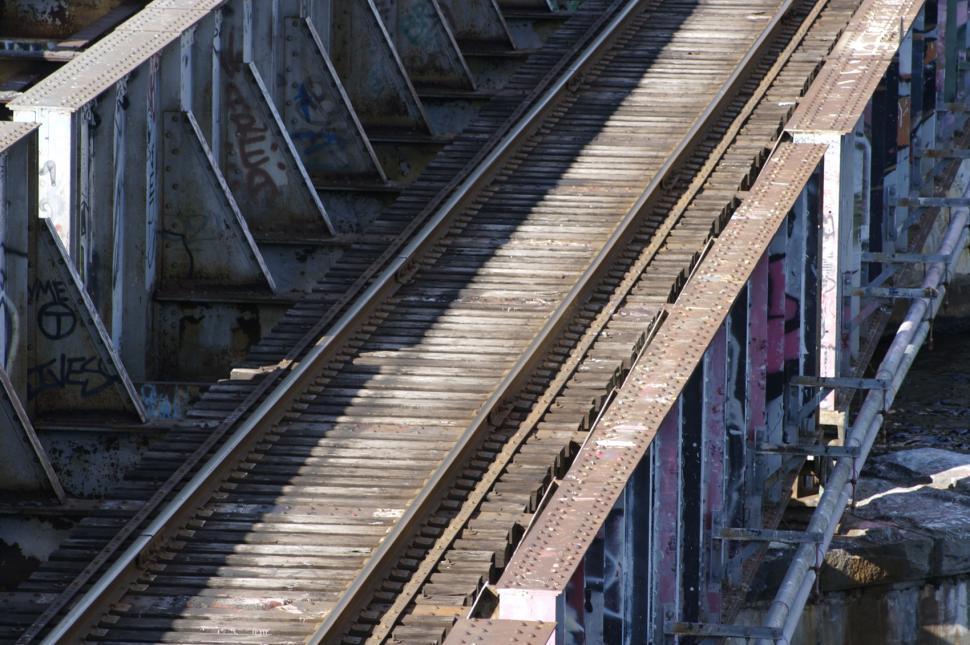 Download Free Stock HD Photo of Railroad bridge with graffiti Online