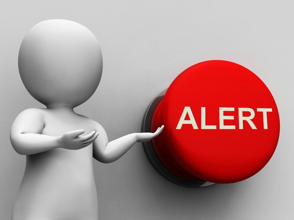 Download Free Stock Photo of Alert Button Shows Warning Hazard Or Notice
