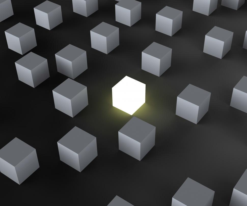 Download Free Stock HD Photo of Unique Illuminated Block Showing Standing Out Online