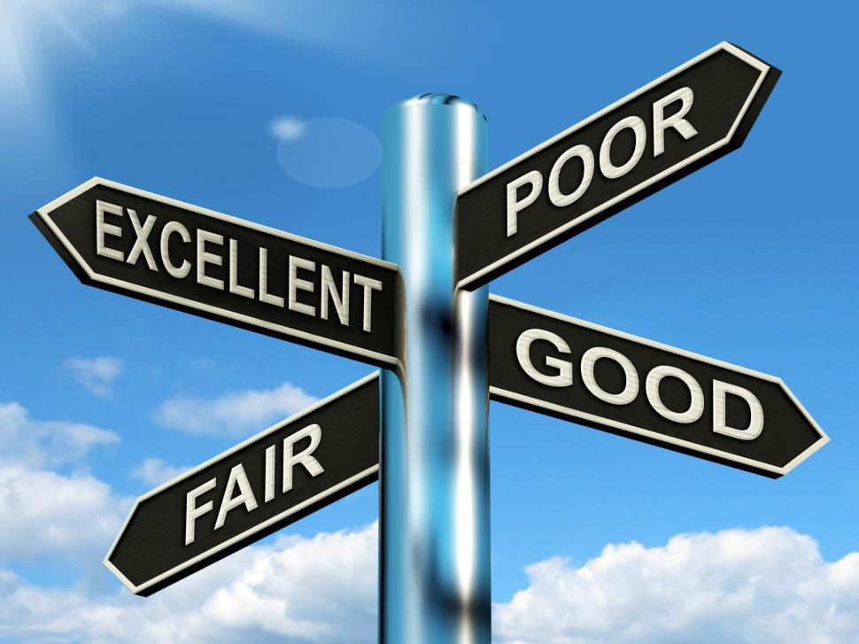 Download Free Stock Photo of Excellent Poor Fair Good Signpost Means Performance Review