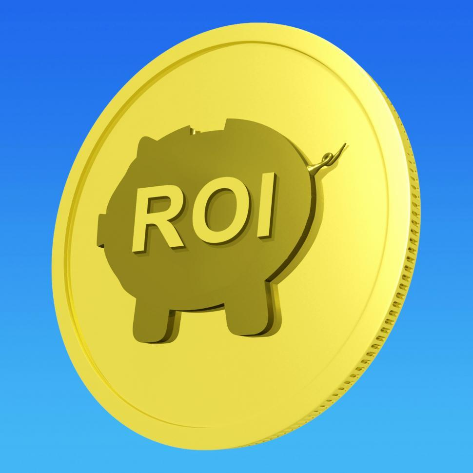 Download Free Stock Photo of ROI Coin Shows Financial Return For Investors