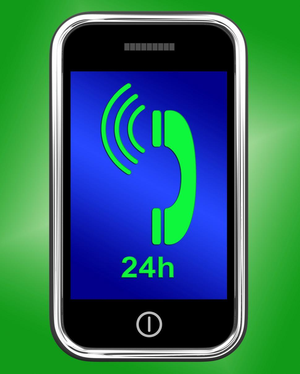 Download Free Stock Photo of Twenty Four Hour On Phone Shows Open 24h