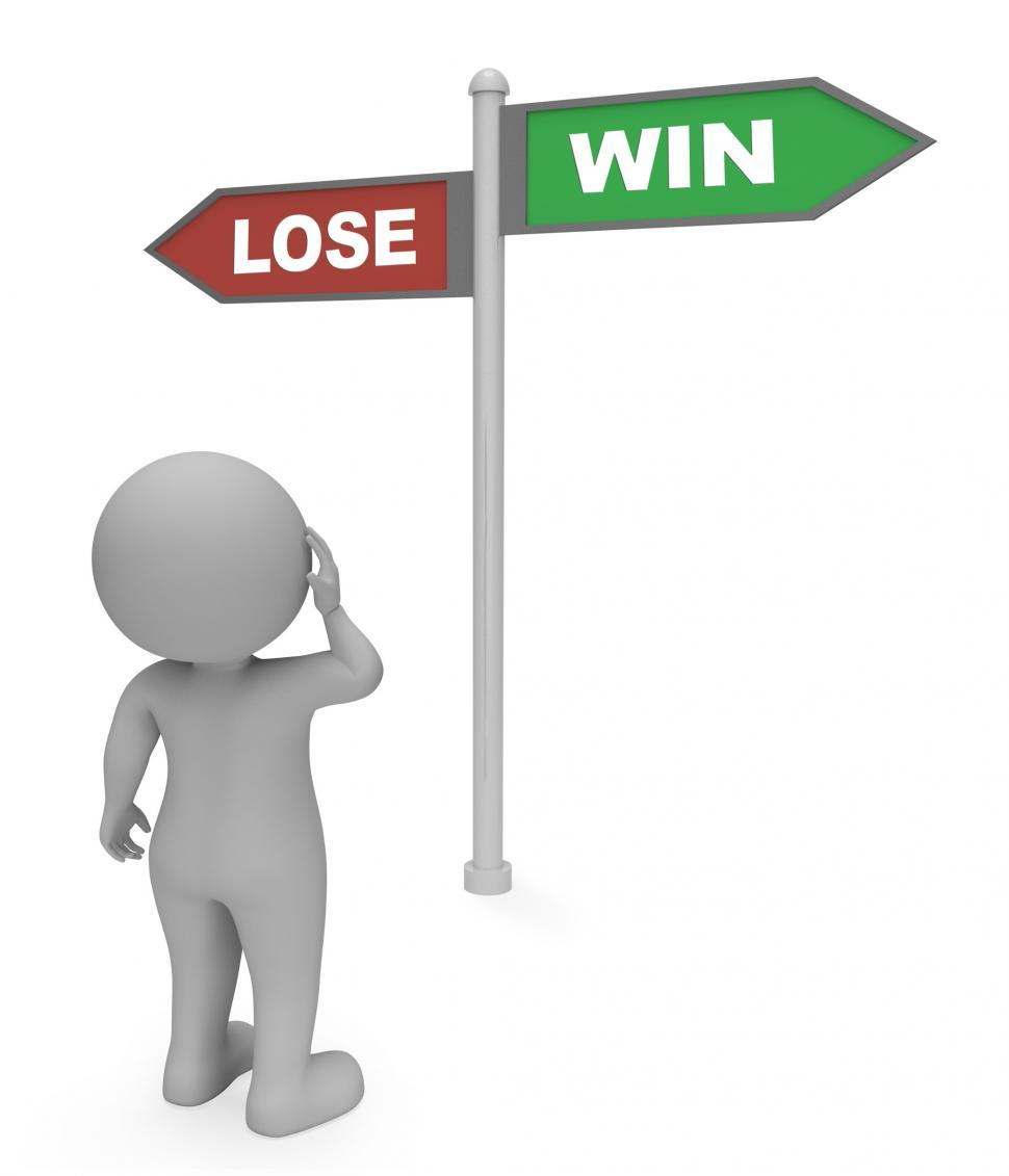Download Free Stock HD Photo of Lose Win Sign Means Triumph Losing And Success 3d Rendering Online