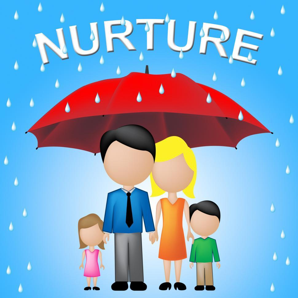 Download Free Stock HD Photo of Nurture Kids Shows Umbrellas Supporting And Offspring Online