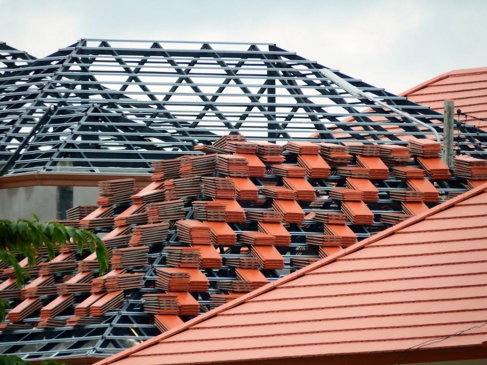 Download Free Stock Photo of Roof of House Under Construction