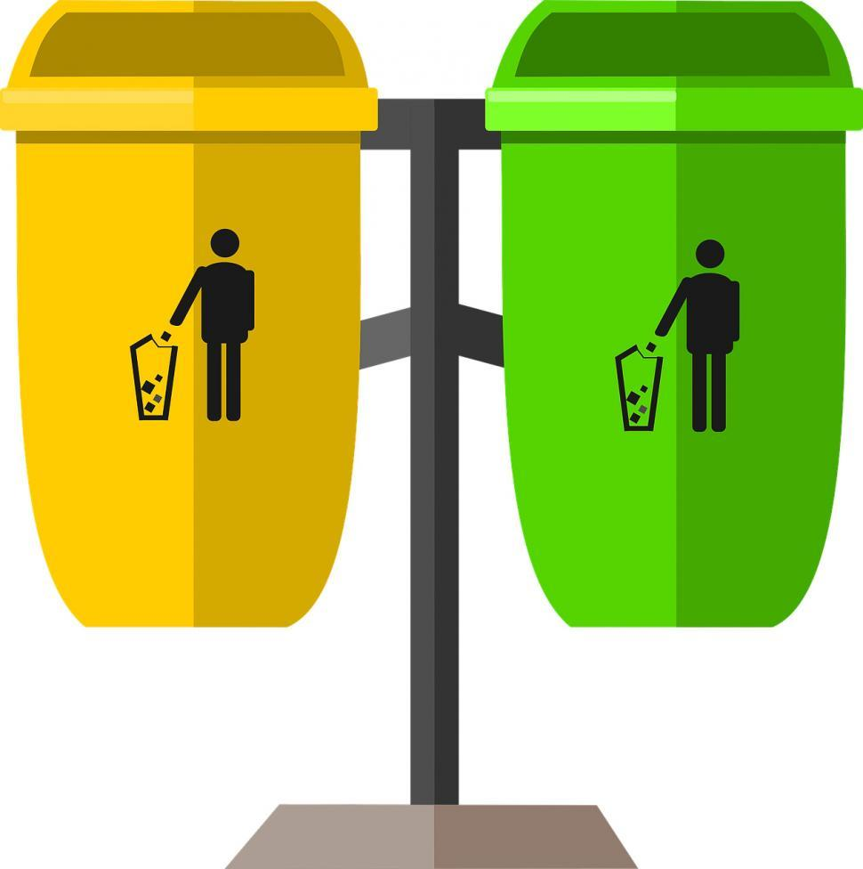 Download Free Stock Photo of Recycling and trash bins