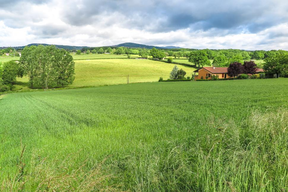 Download Free Stock HD Photo of Rolling fields with house Online
