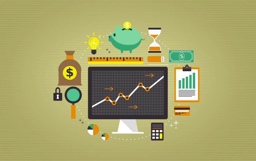 Download Free Stock Photo of Financial Operations and On-Line Banking Illustration