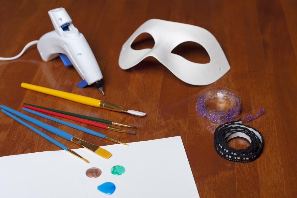 Download Free Stock Photo of Mask with paint and glue gun