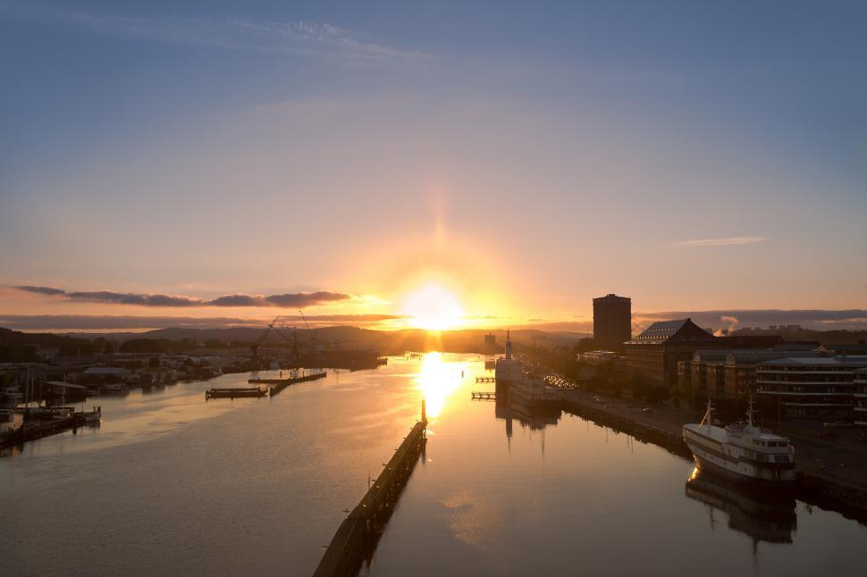Download Free Stock HD Photo of Sunrise over the Swedish Harbour of Gothenburg Online
