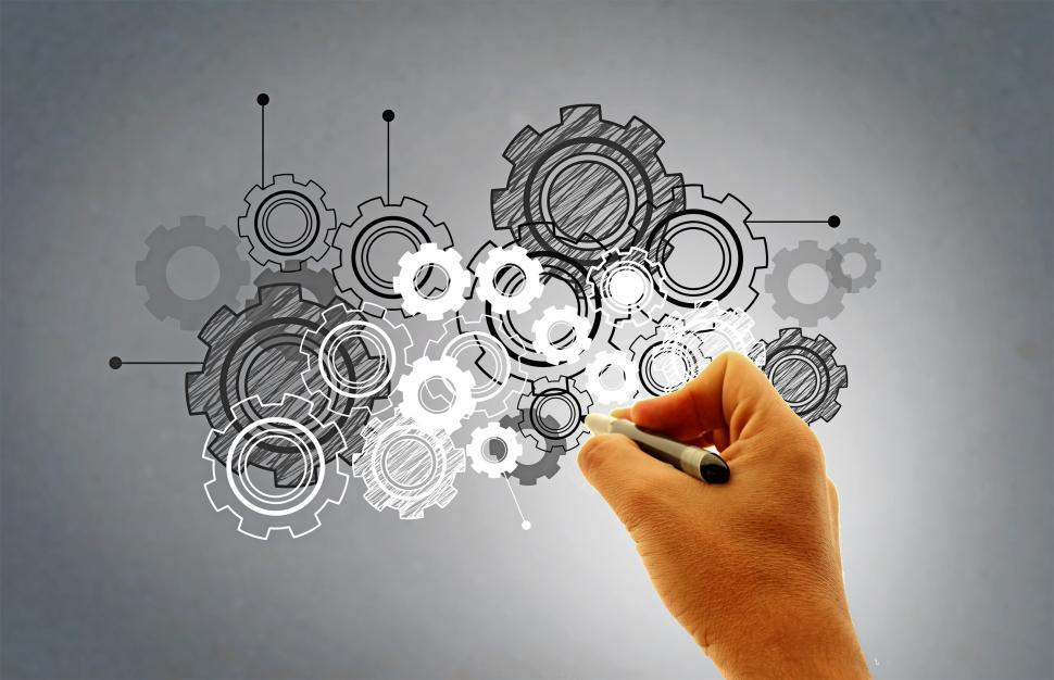 Download Free Stock Photo of Hand Drawing Virtual Cogwheels - Work and Engineering Concept