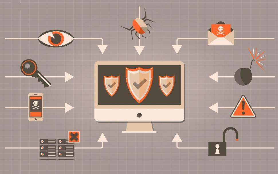 Download Free Stock HD Photo of Web Security - Antivirus and Firewall Concept with Shields Online