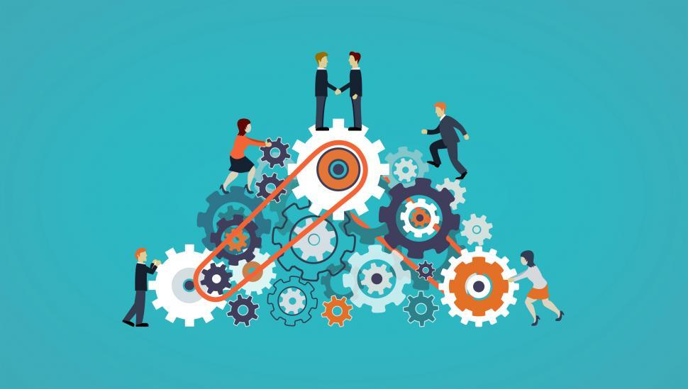 Download Free Stock Photo of Business People on Cogwheels - Workforce and Teamwork Concept