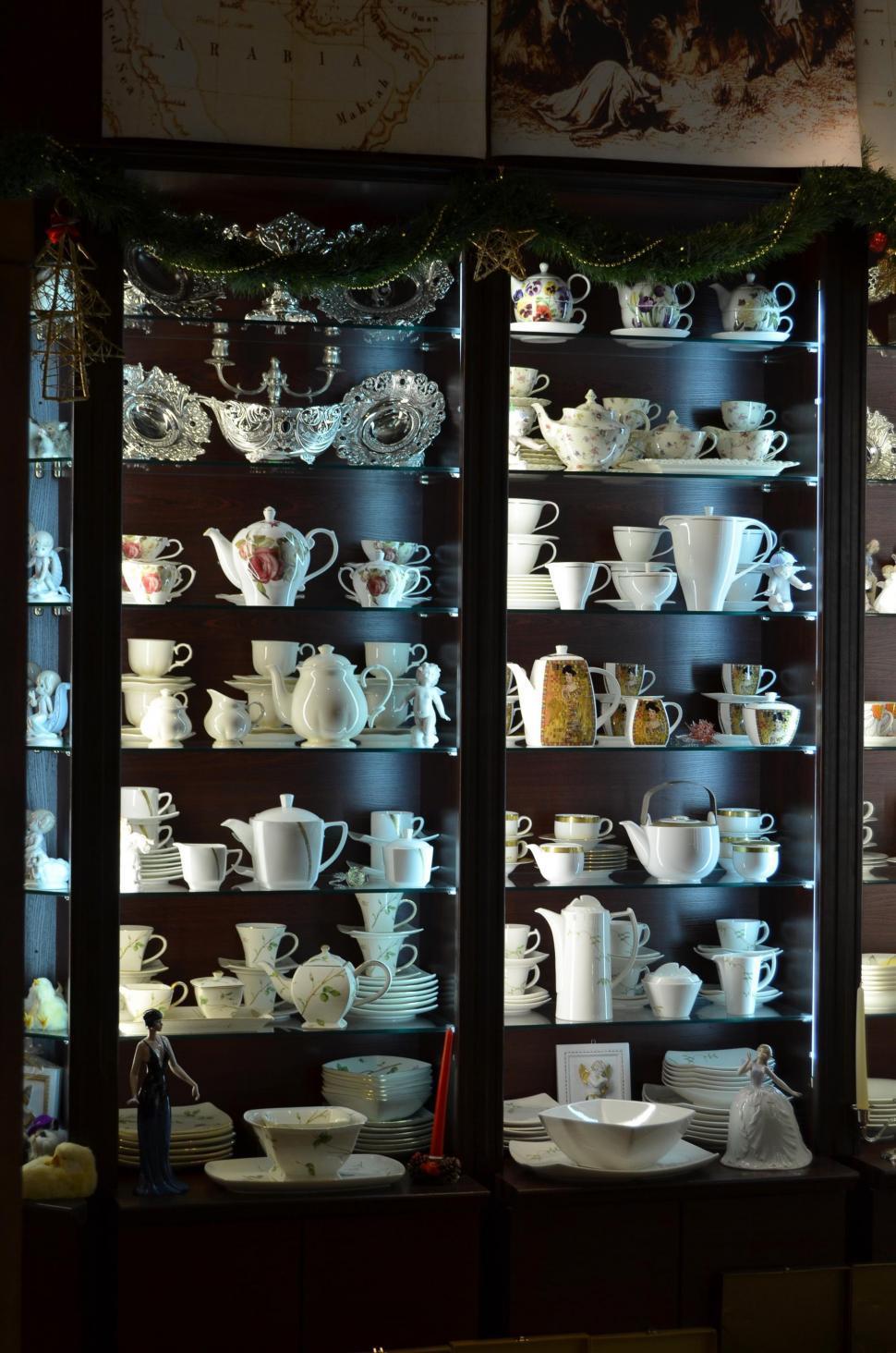 Download Free Stock Photo of case china cabinet cabinet furniture tobacco shop furnishing shop mercantile establishment