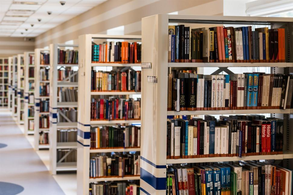 Download Free Stock Photo of bookcase furniture furnishing library building structure