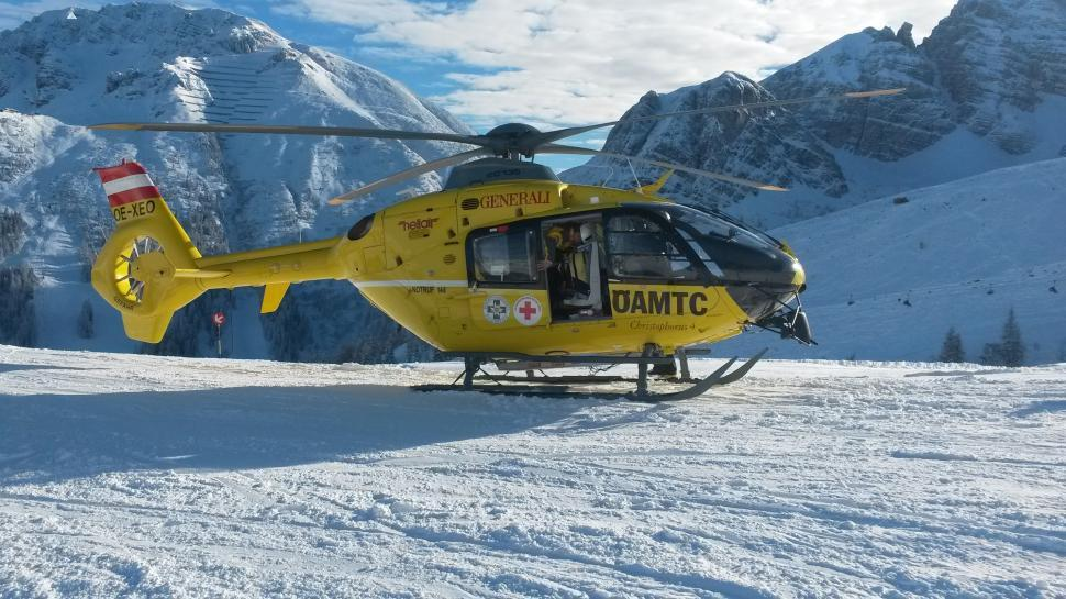 Download Free Stock HD Photo of Rescue helicopter on ski slope  Online