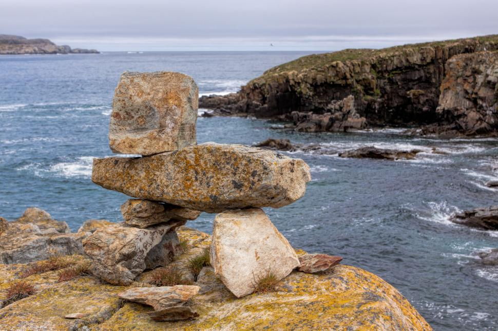 Download Free Stock Photo of Inukshuk near the ocean