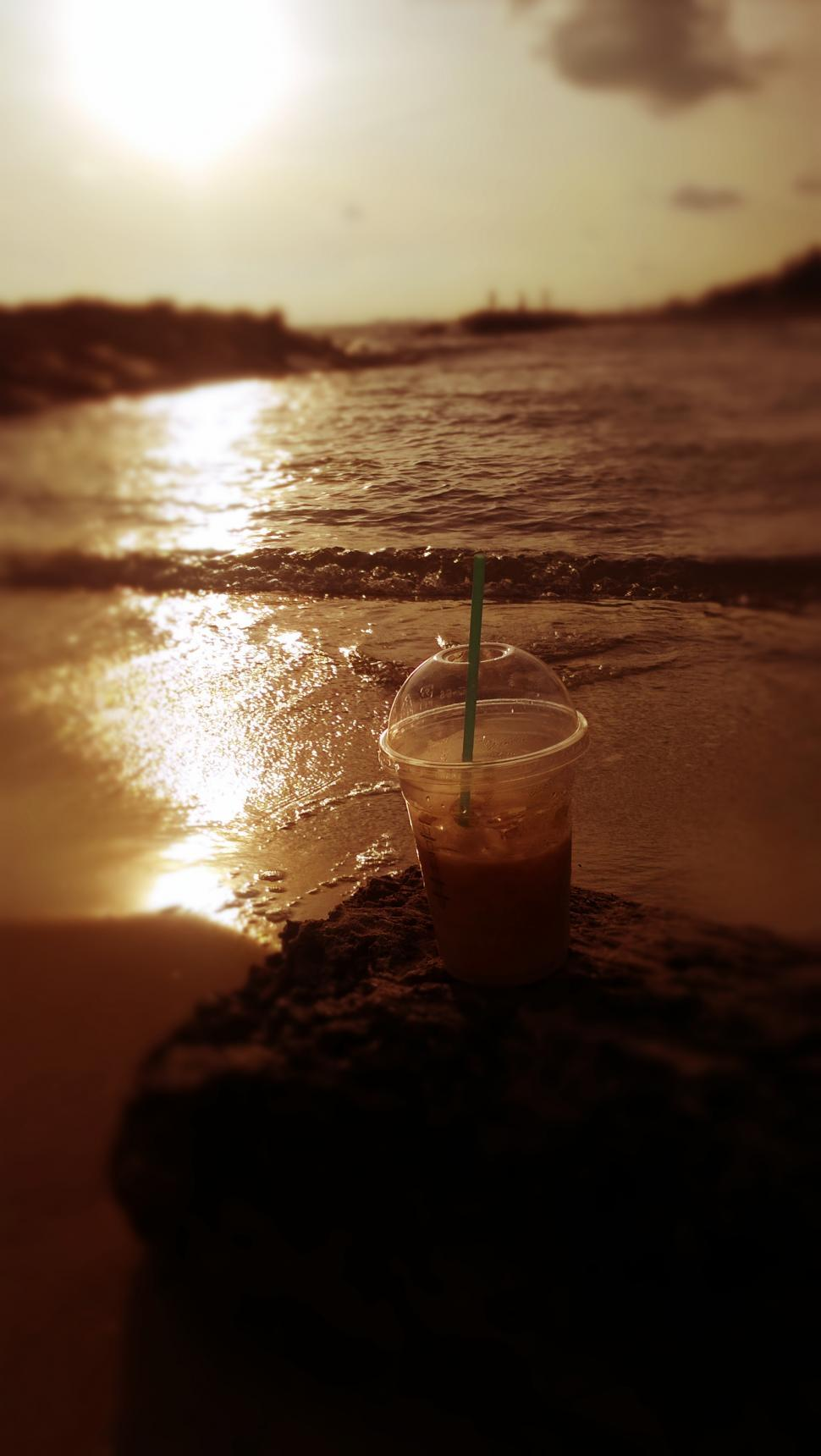 Download Free Stock Photo of Coffee on the Beach