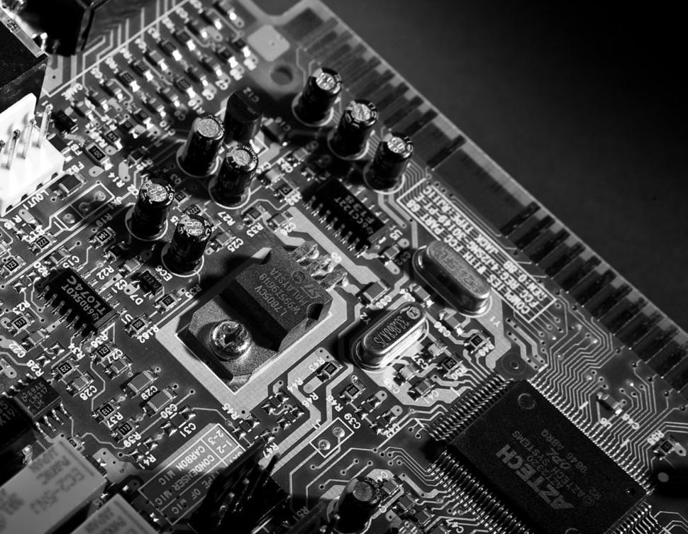 Download Free Stock Photo of Circuit Board Black & White