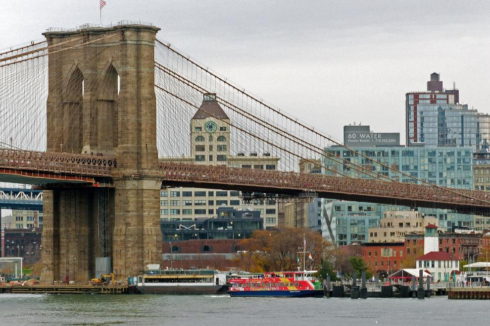 Download Free Stock Photo of Brooklyn Bridge on Brooklyn Side