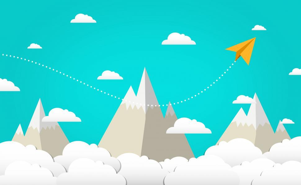 Download Free Stock Photo of Flying High - Paper Plane Clouds and Mountains - Cloud Computing