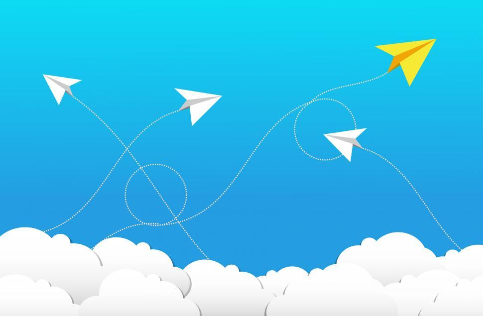Download Free Stock HD Photo of Flying Paper Planes and Clouds - Cloud Computing Concept Online