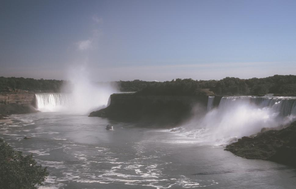 Download Free Stock HD Photo of Matte Color View Of American Falls and Boat Online