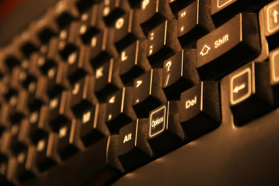 Download Free Stock Photo of keyboard type keys office computer shift web internet letters numbers delete enter select arrows dust dusty options alt technology