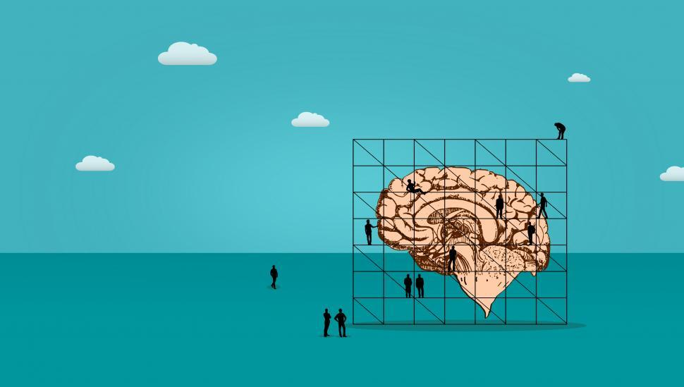 Download Free Stock Photo of Little People Working on the Brain