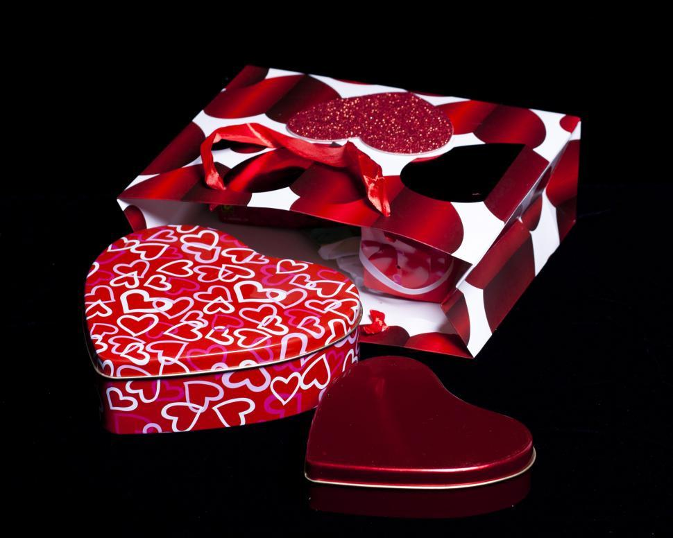 Download Free Stock Photo of Heart Shaped Gift Boxes