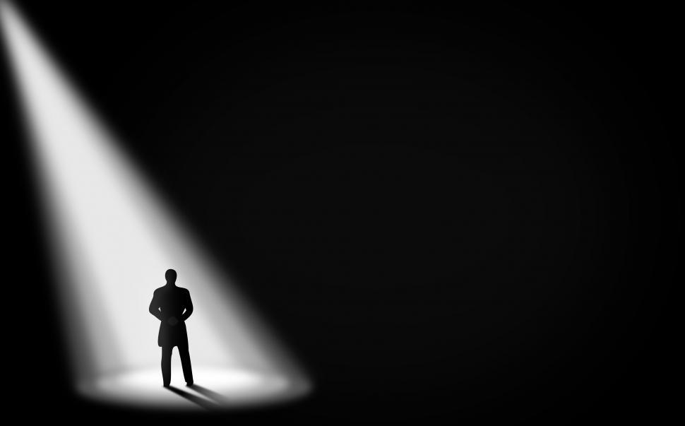 Download Free Stock Photo of Businessman Alone in the Dark