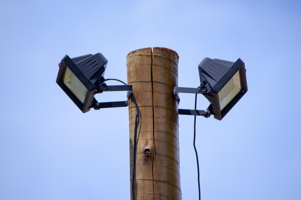 Download Free Stock HD Photo of Two solar powered LED spotlights Online