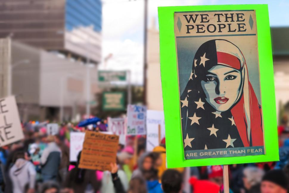 Download Free Stock HD Photo of Protest march sign showing woman Online