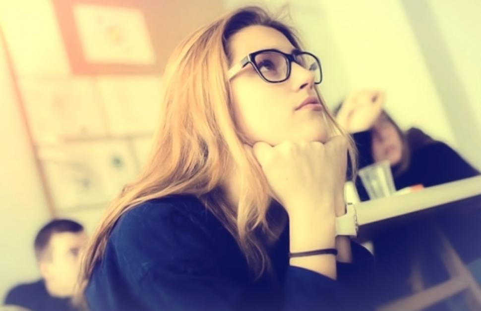 Download Free Stock Photo of Hazy Vintage Looks - Young Woman with Glasses - Attentive - Clas