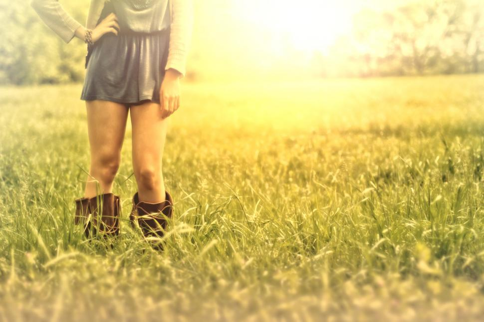 Download Free Stock Photo of Hazy Vintage Looks - Country Girl on the Grass - With Copyspace
