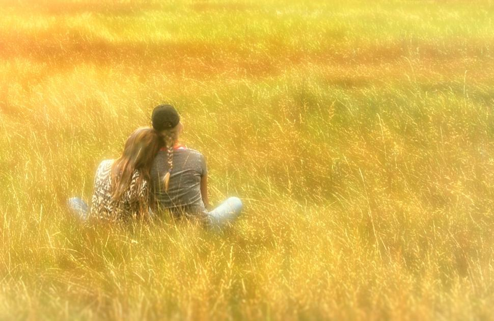 Download Free Stock HD Photo of Hazy Vintage Looks - Girls on the Grass - With Copyspace Online
